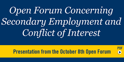 Picture of text: Open Forum on Secondary Employment and Conflict of Interest Policies.  PDF.